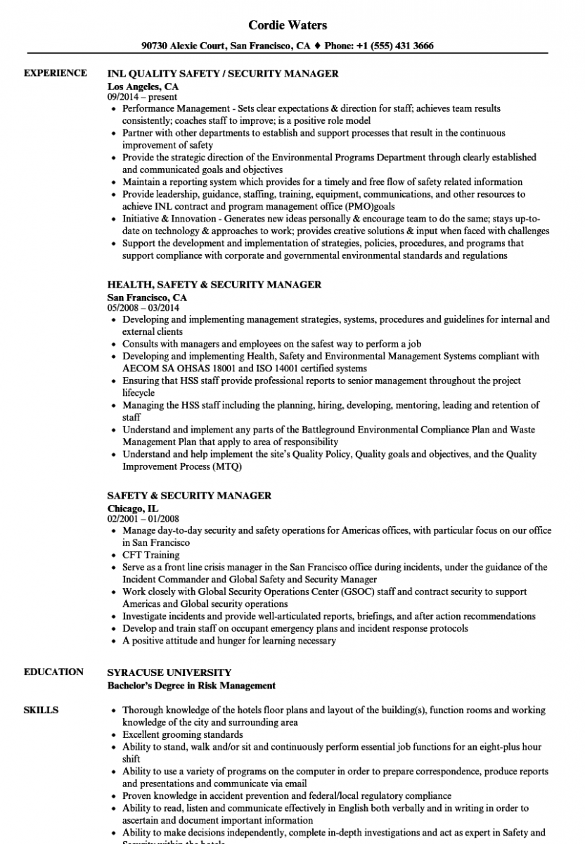safety security manager resume sample