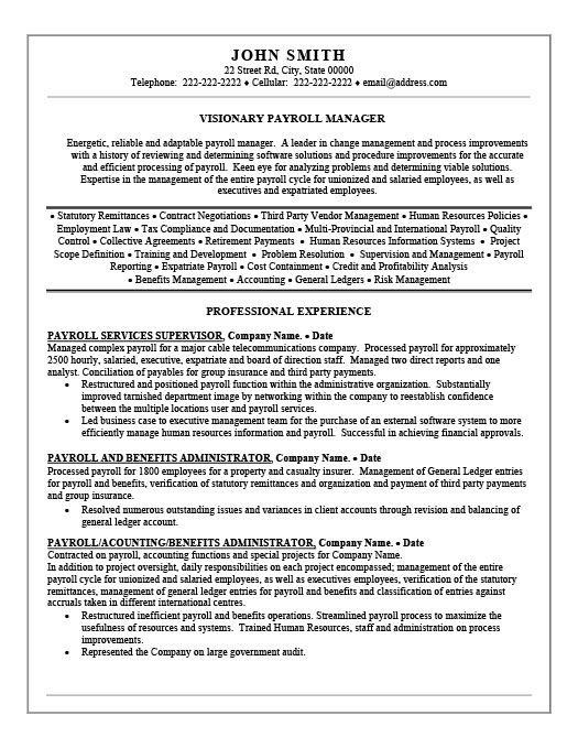 sample payroll manager resume objective