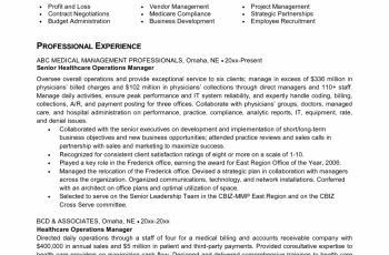 senior operasional manager healthcare resume