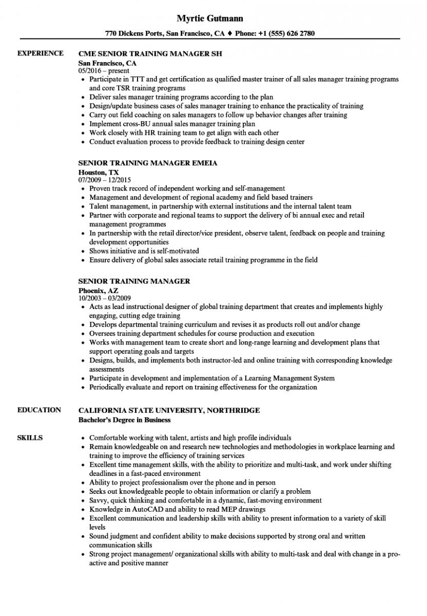 senior training manager resume sample
