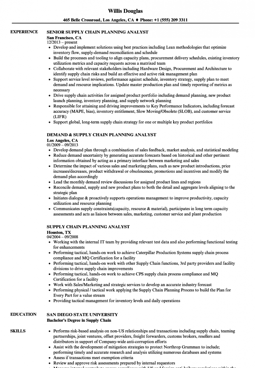 Supply Chain Analyst Resume