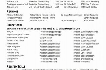 templates of stage manager resume