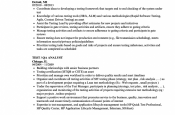 test qa analyst resume sample