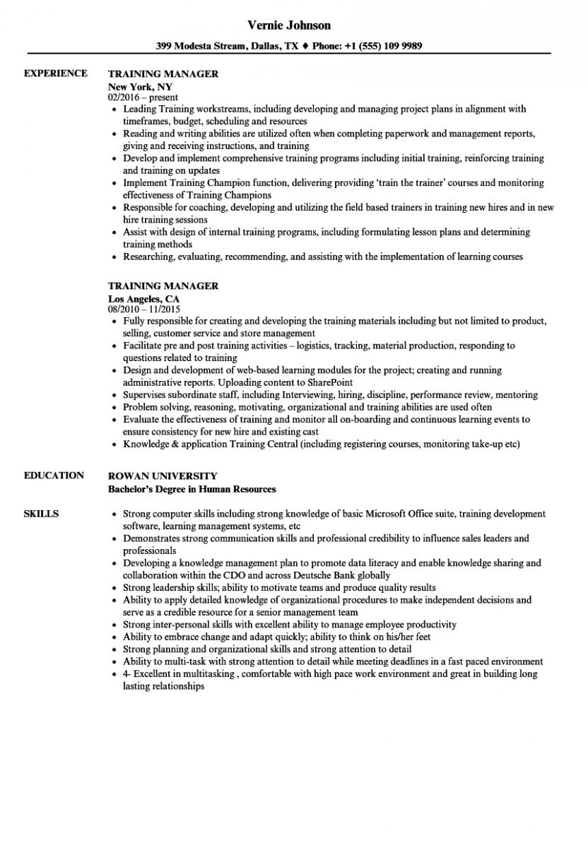 training manager resume sample