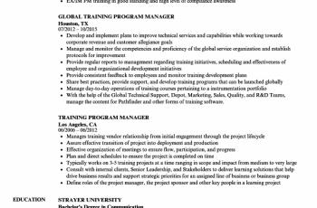 training program manager resume sample