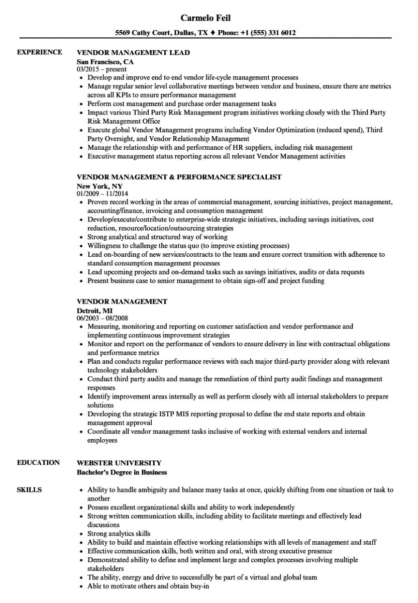 vendor management resume sample