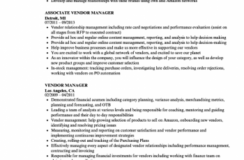 vendor manager resume sample