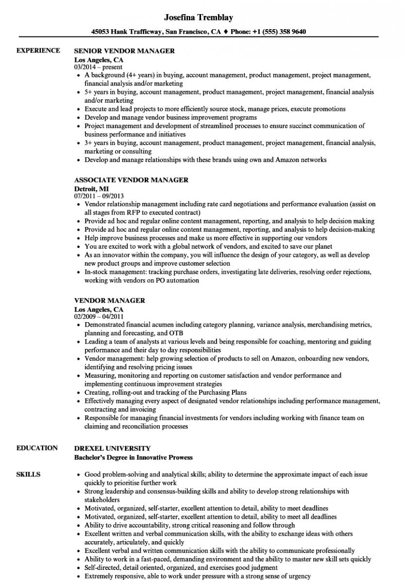 vendor manager resume sample