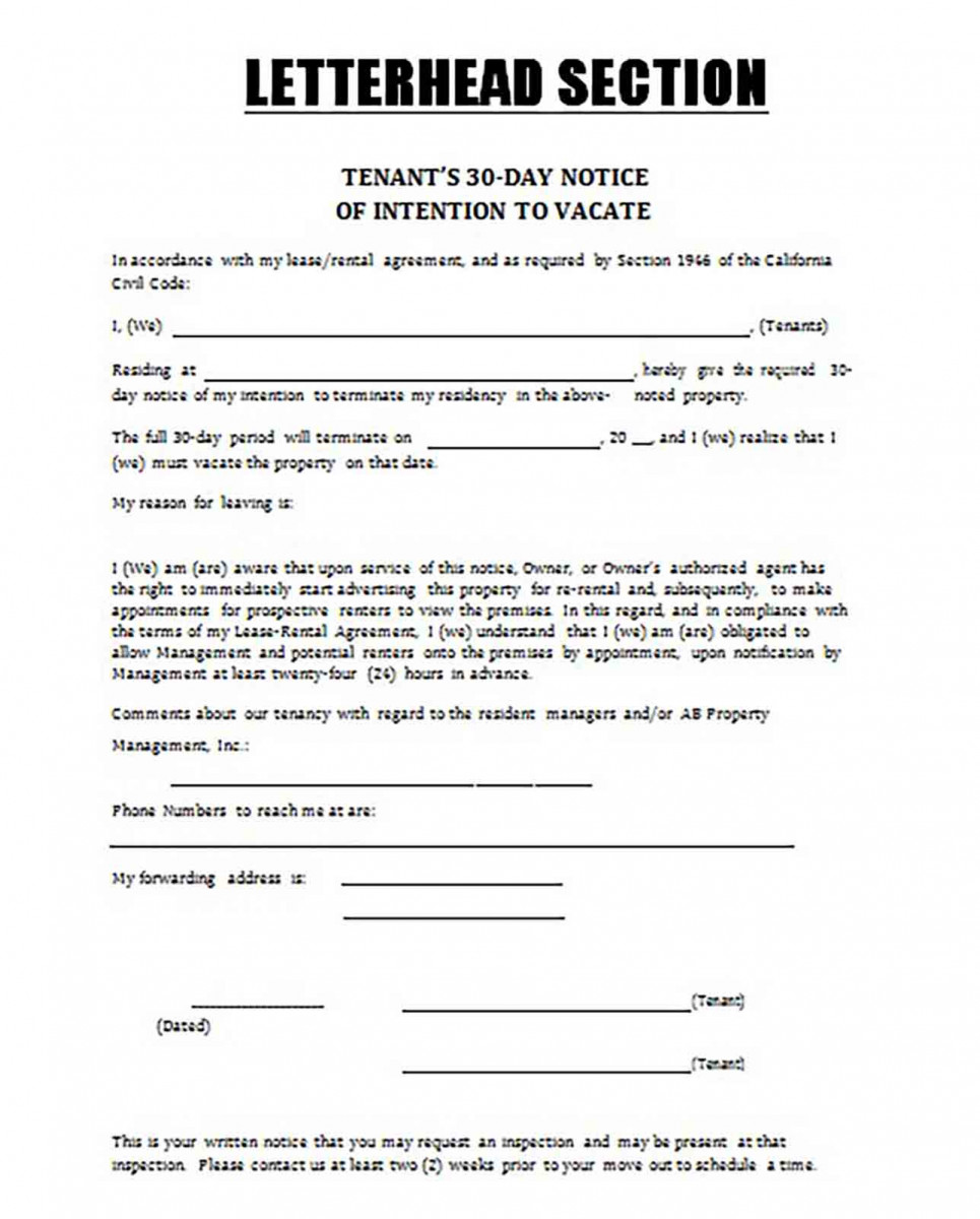 30 Day Notice of Intention Tenant Form templates