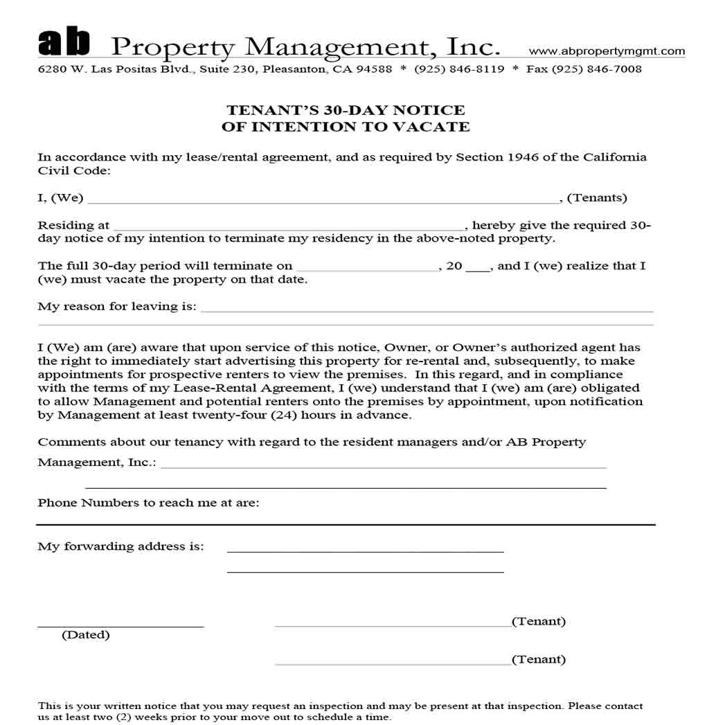 30 Day Notice of Intention Tenant Form templates 1