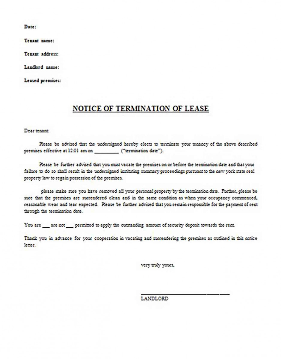 30 Day Notice to Terminate