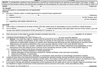 30 Day Vacate Notice by Landlord templates 1