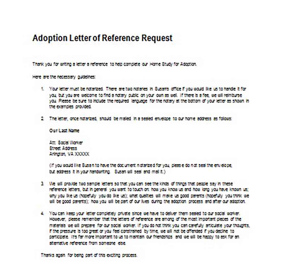 Adoption Letter of Reference Request templates