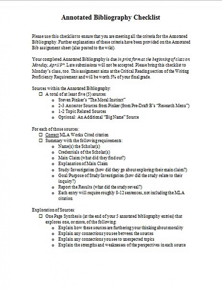 Annotated Bibliography Checklist Format
