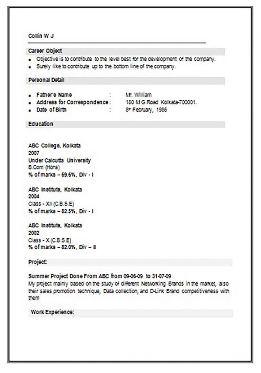 B Com Resume Sample