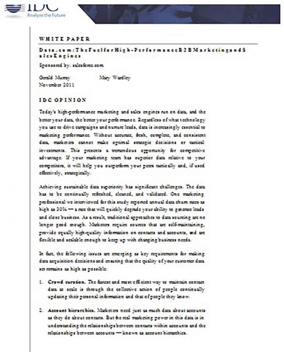 B2B Marketing White Paper