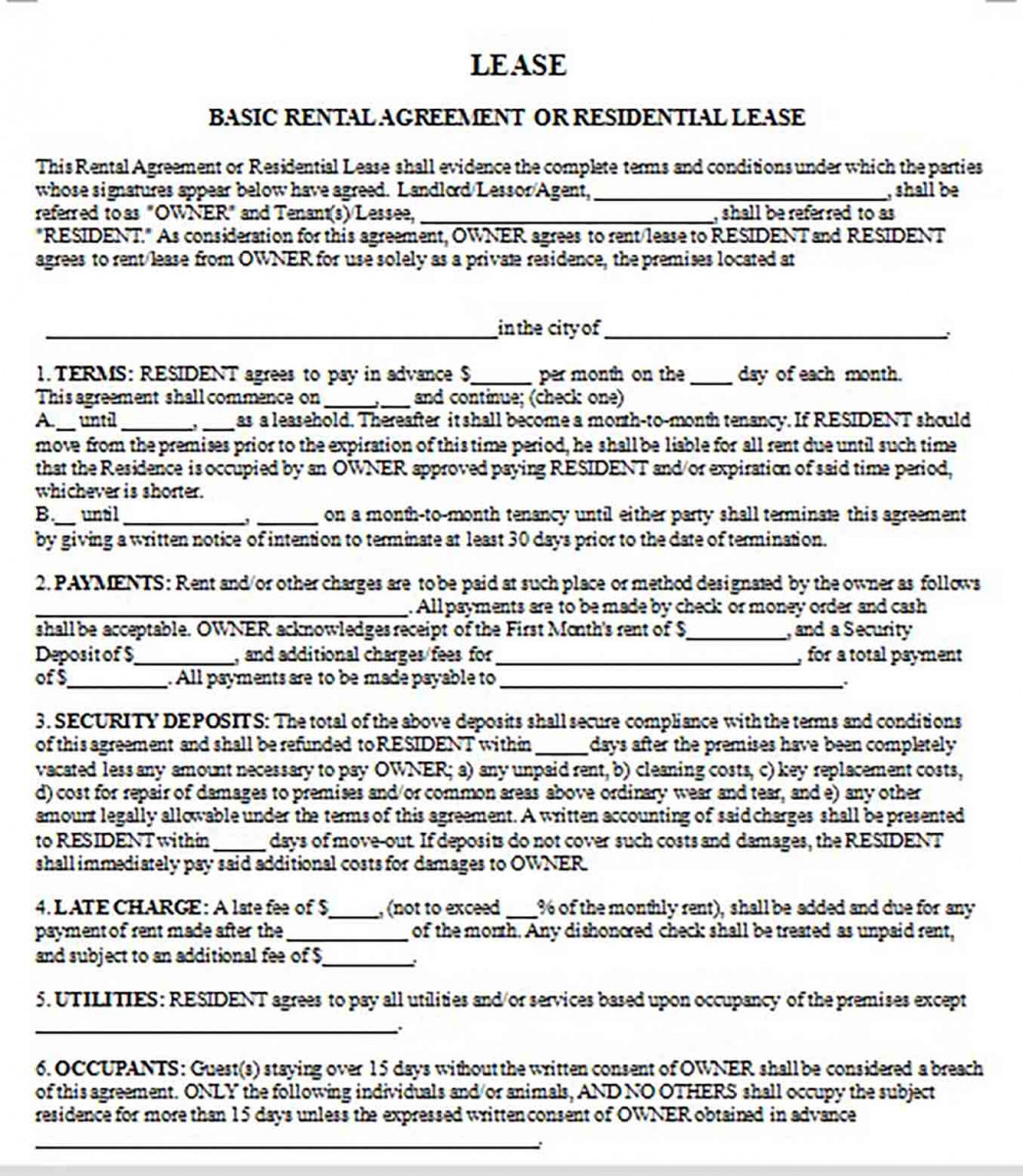 Basic Lease Rental Agreement