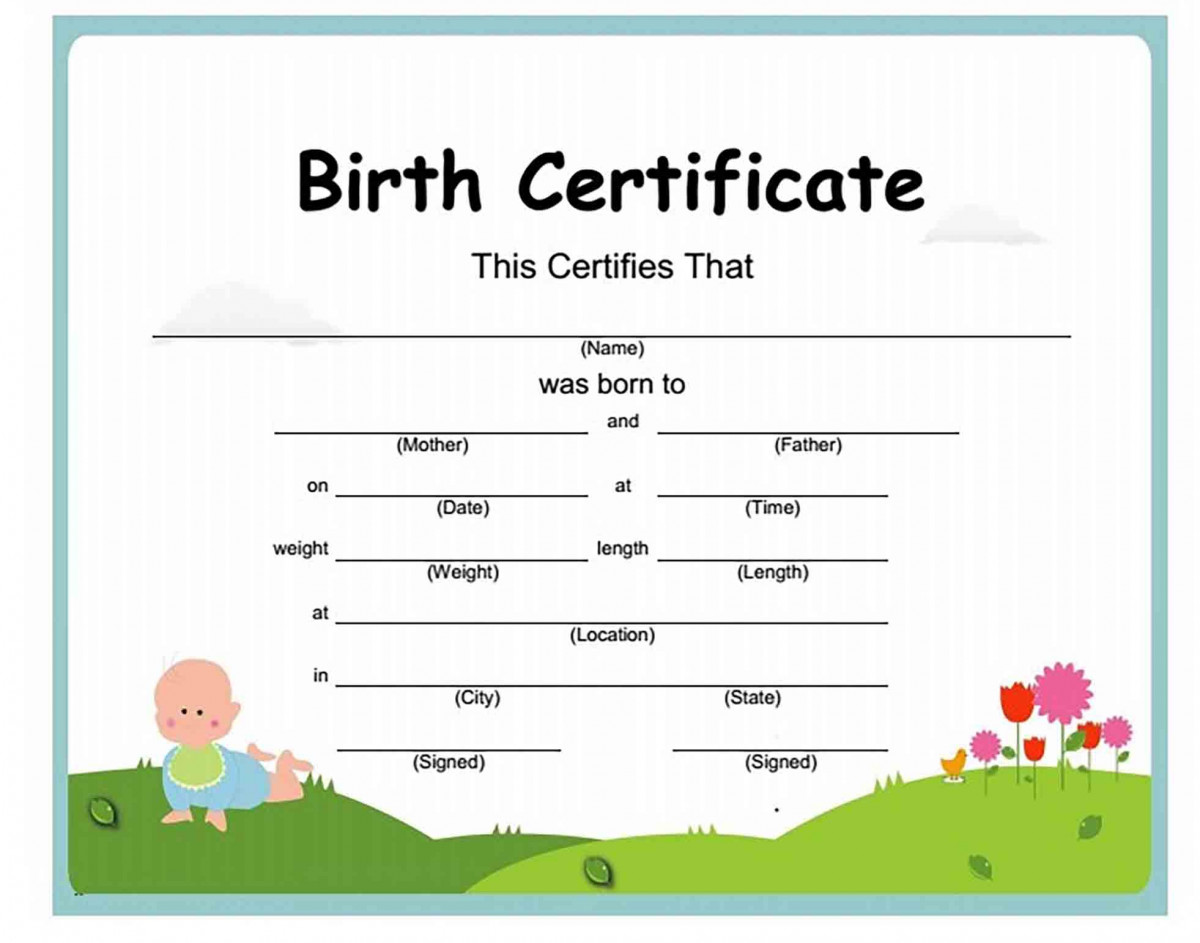 Beautiful Birth Certificate Cartoon templates