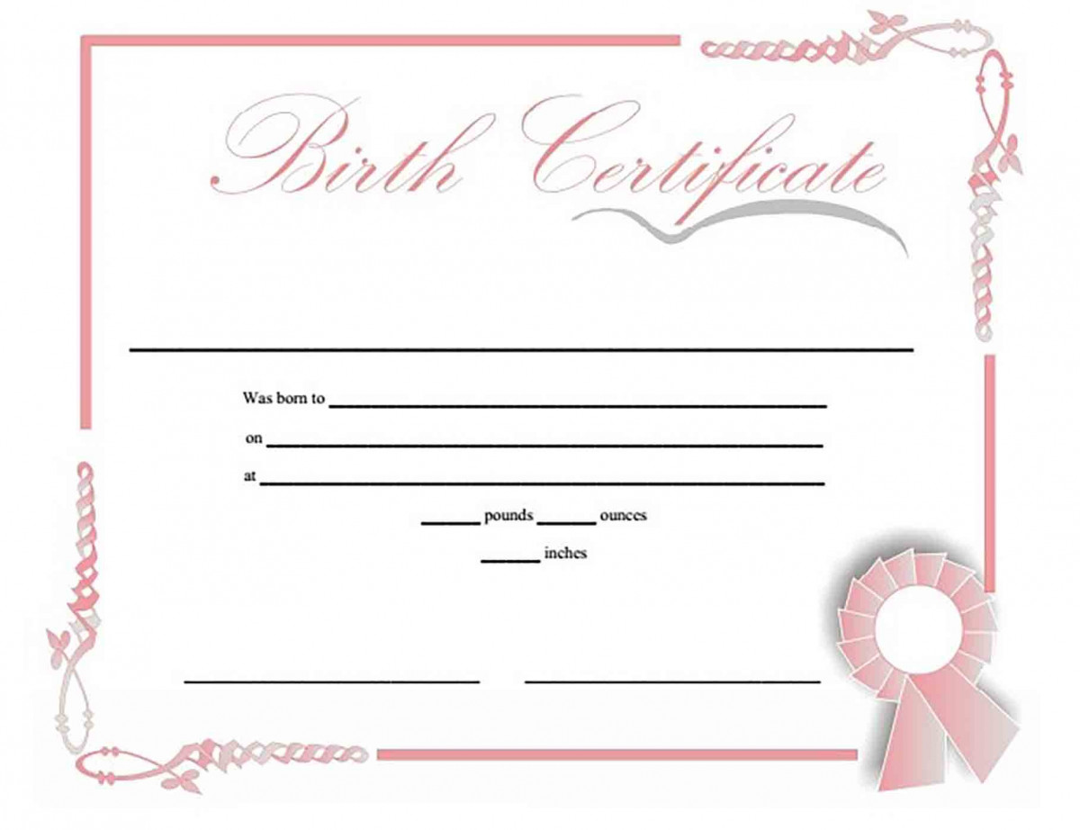 Birth Certificate Prinable templates for