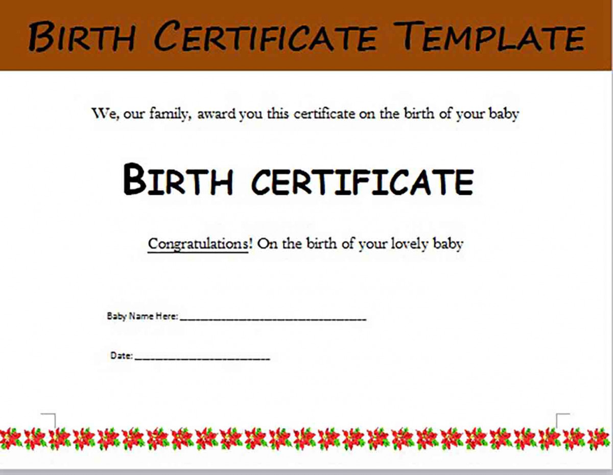 Birth Certificate templates Editable Word Doc