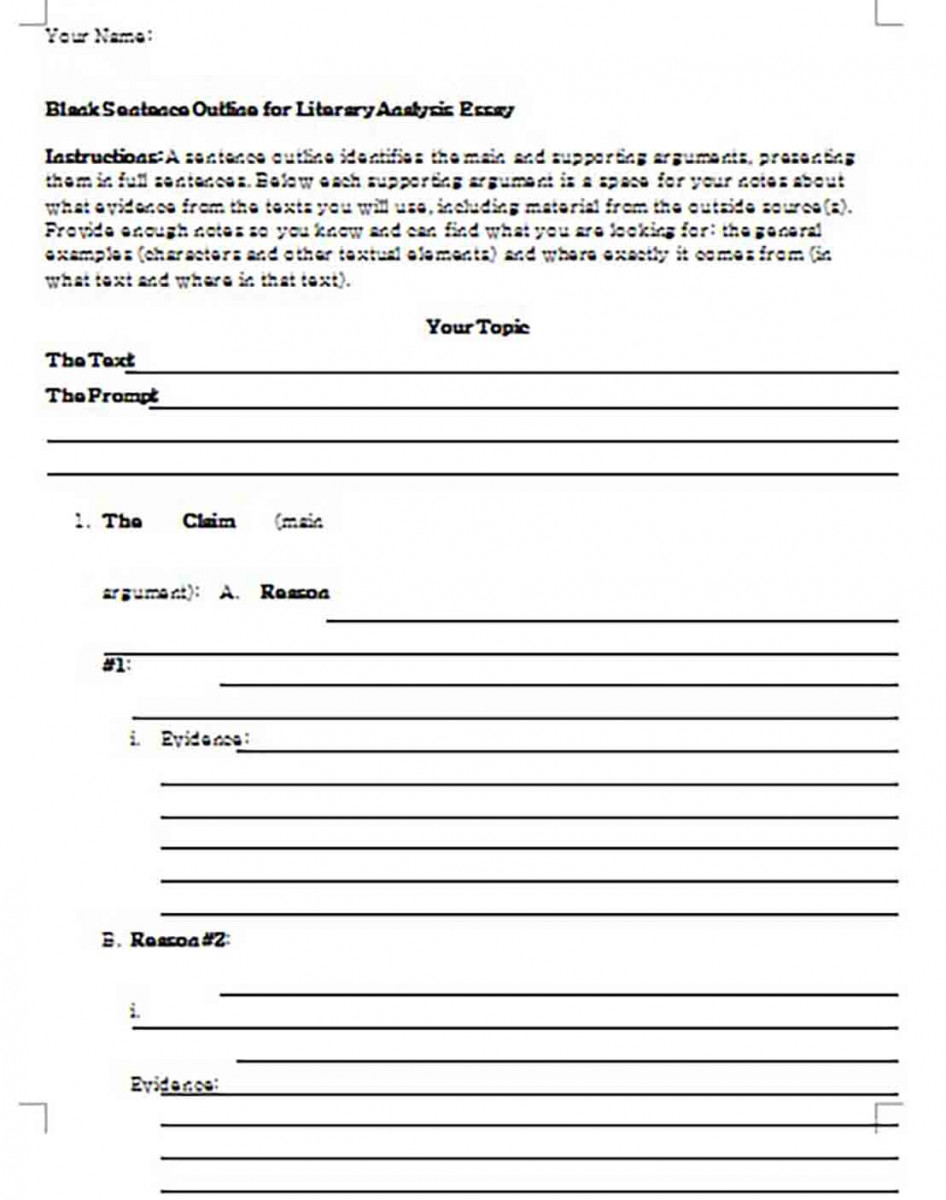Blank Sentence Outline for Literary Analysis Essay