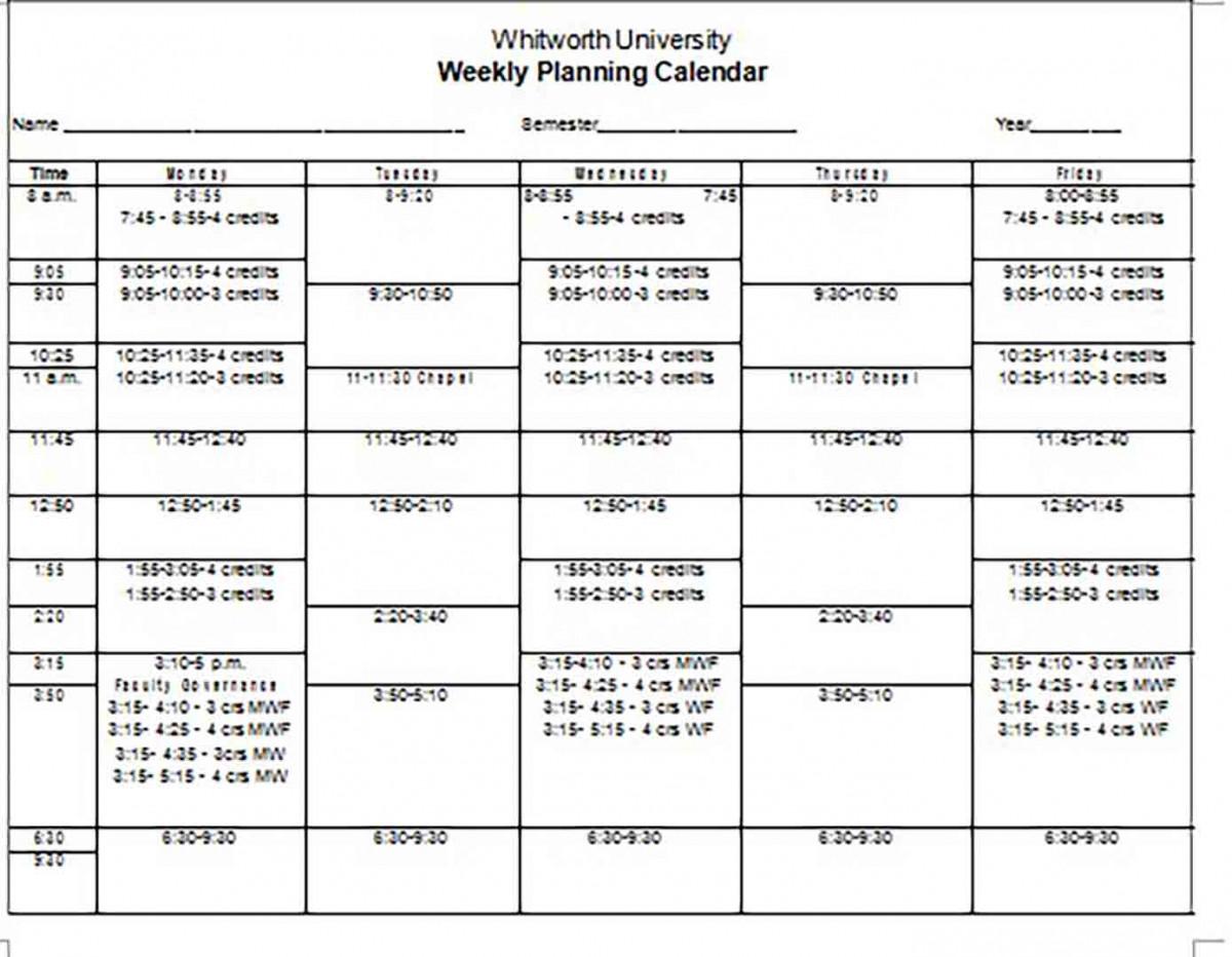 Blank Weekly Planning Calendar