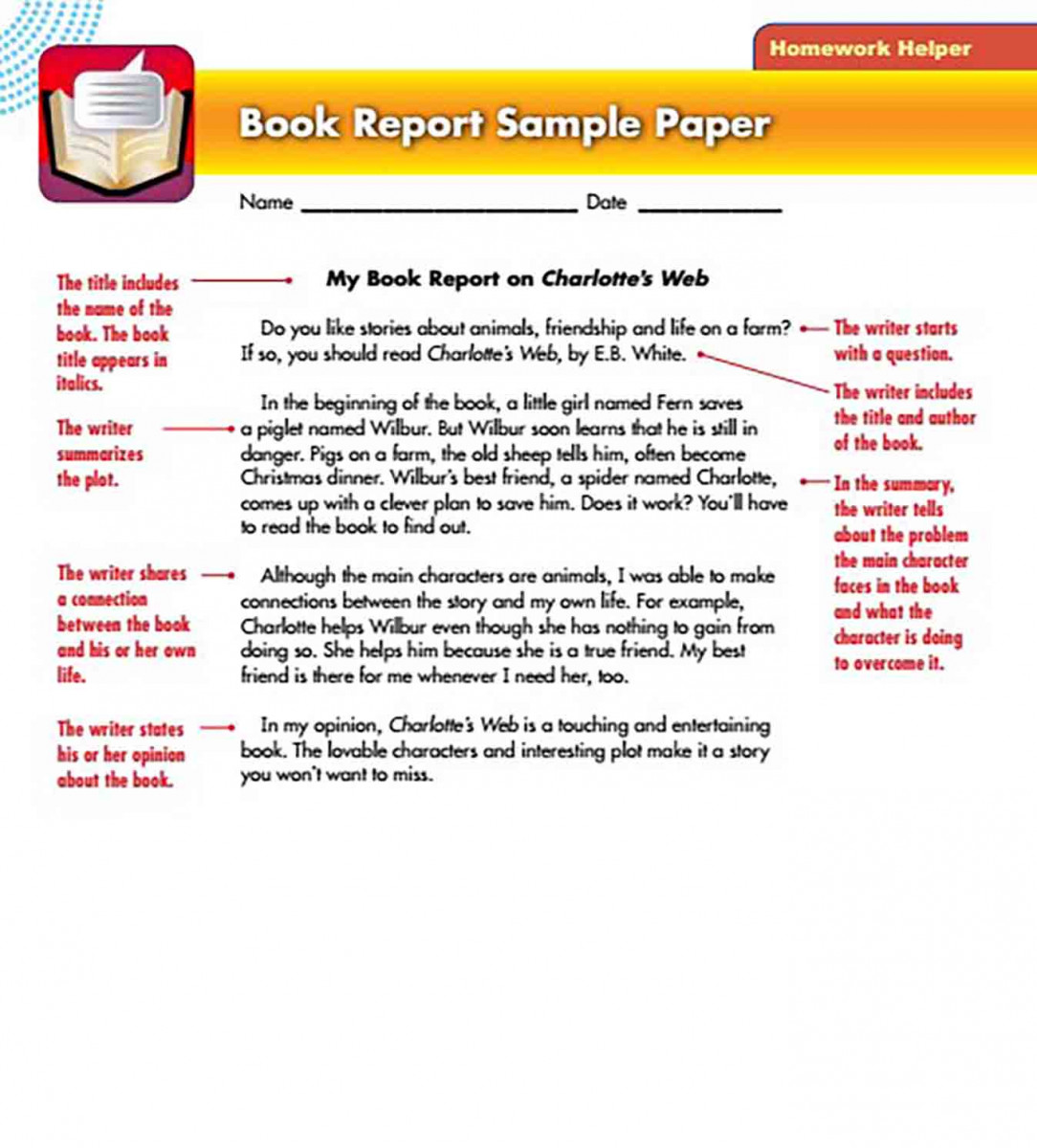 Book Report Sample Paper templates