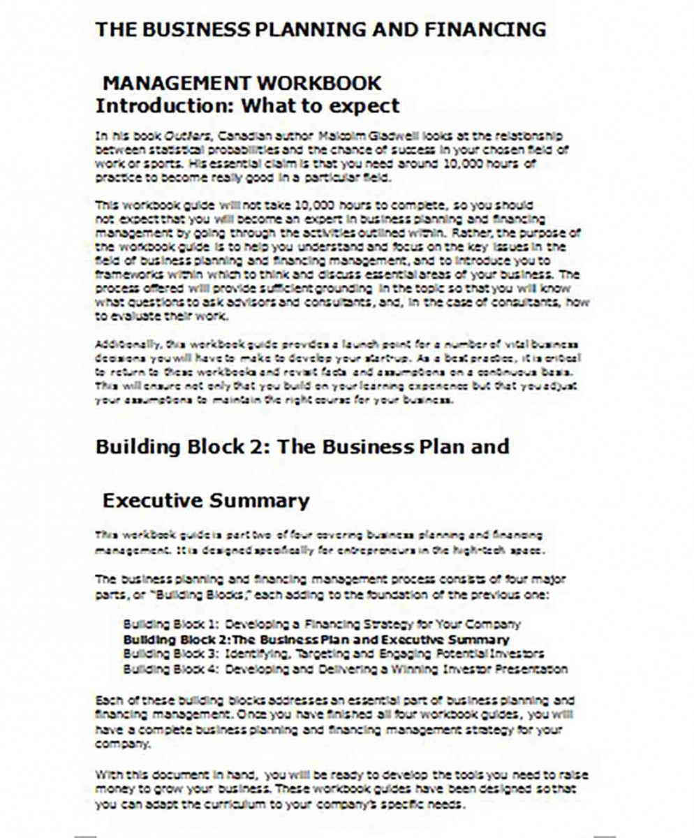 Business Plan Executive Summary Sample