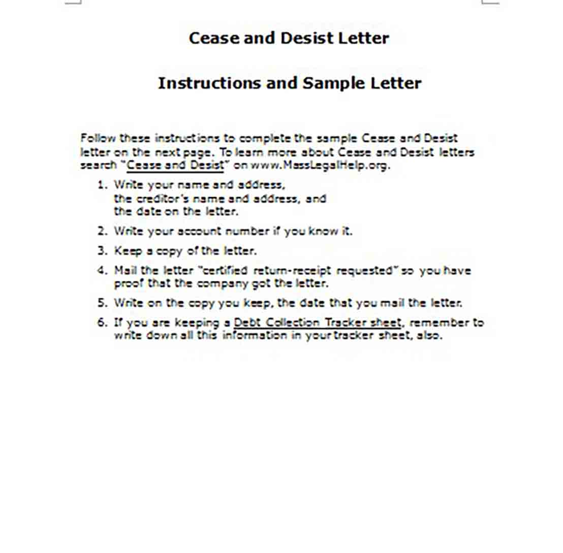 Cease and Desist Letter Instructions and Sample Letter