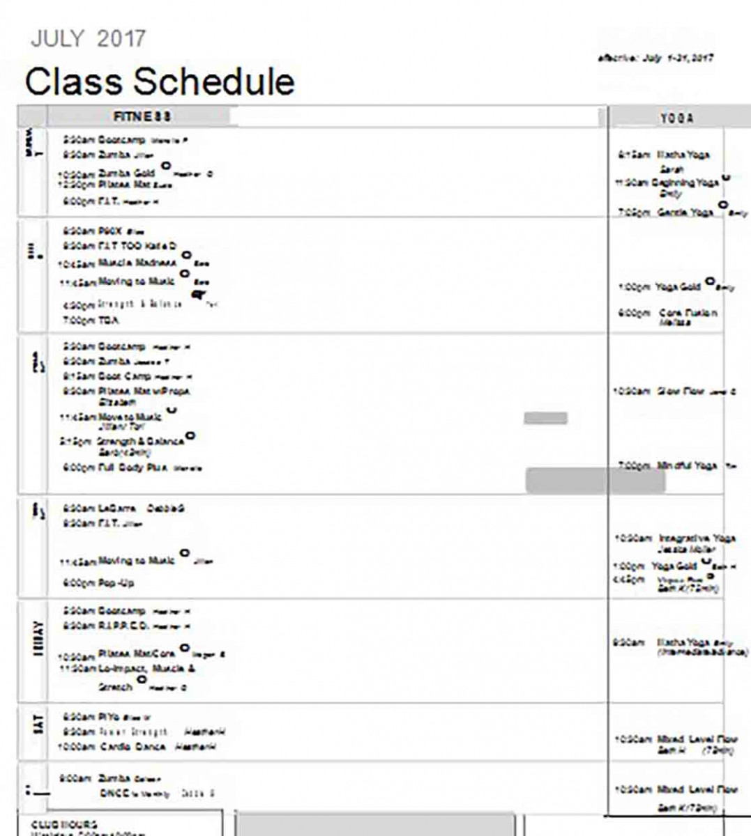 Class Schedule templates