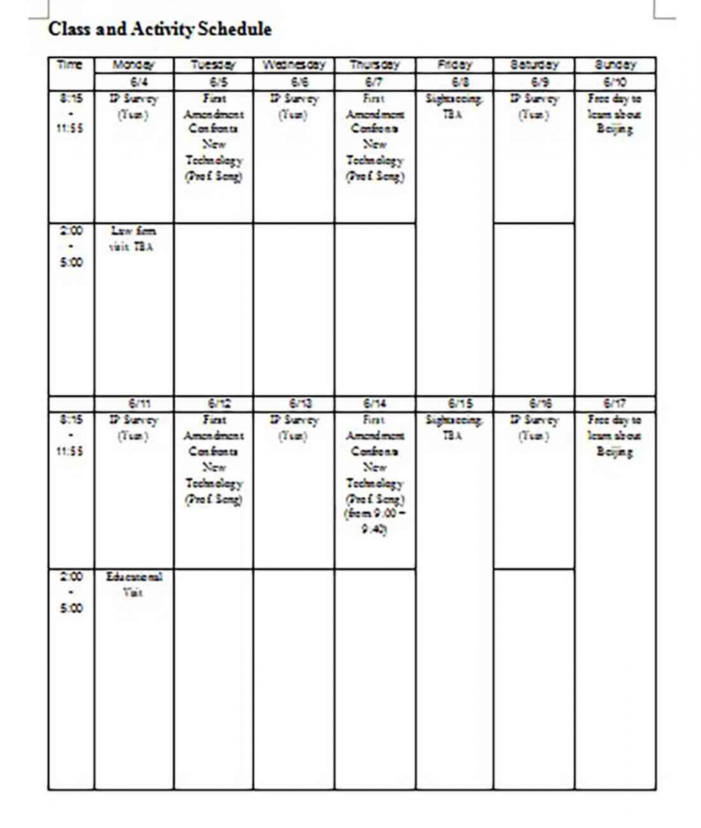 Class and Activity Schedule