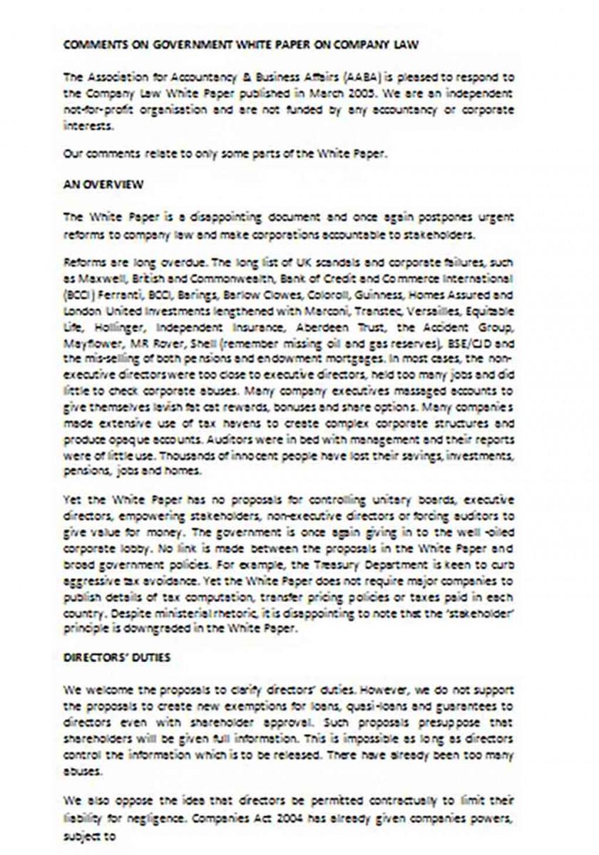 Company Law White Paper