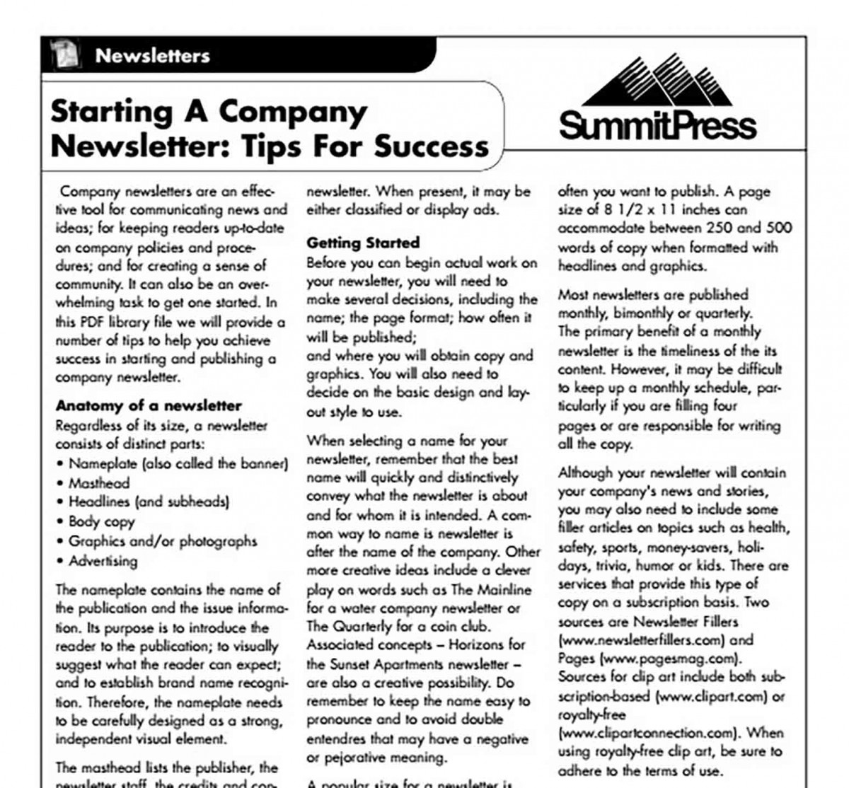 Company Newsletter templates Format