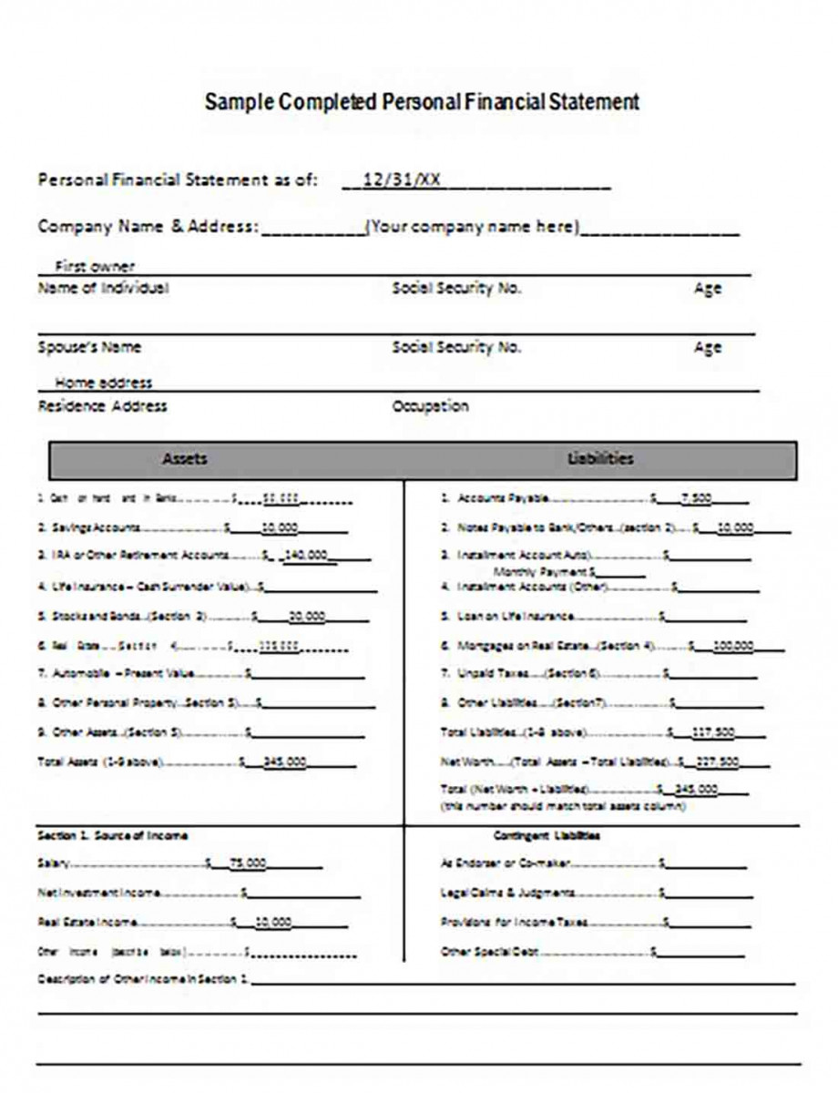 Completed Personal Financial Statement Form