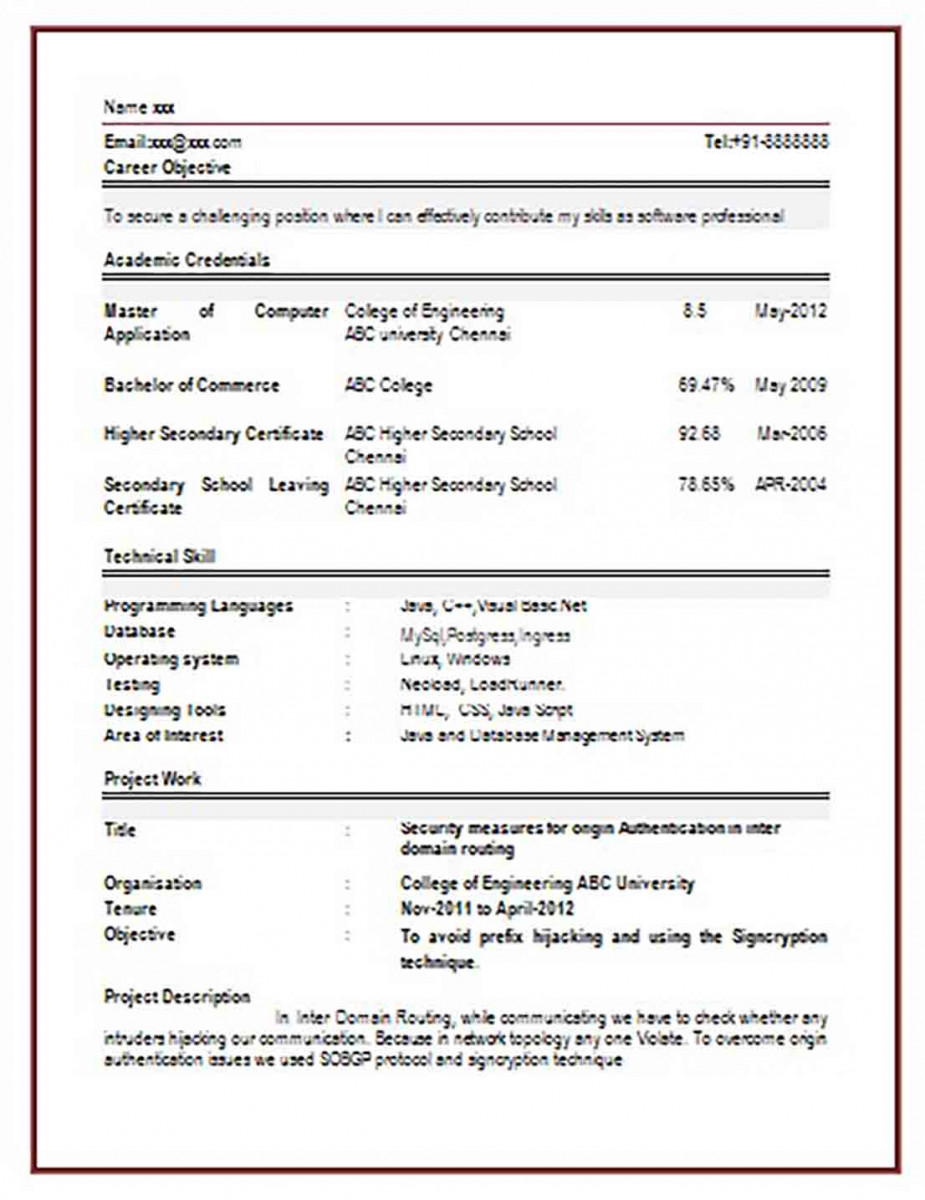 Computer Engineering Resume Format for Freshers