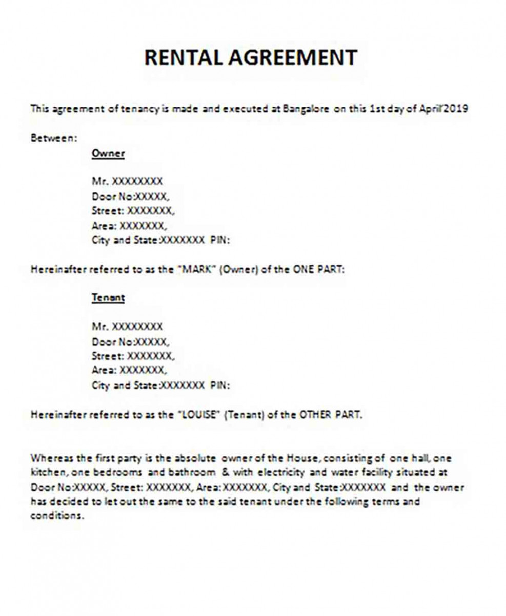 Construction House Basic Rental Agreement