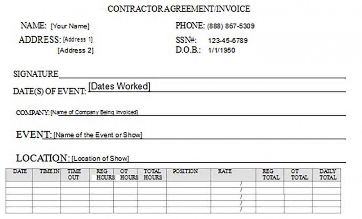 Contractor Agreement Invoice 1