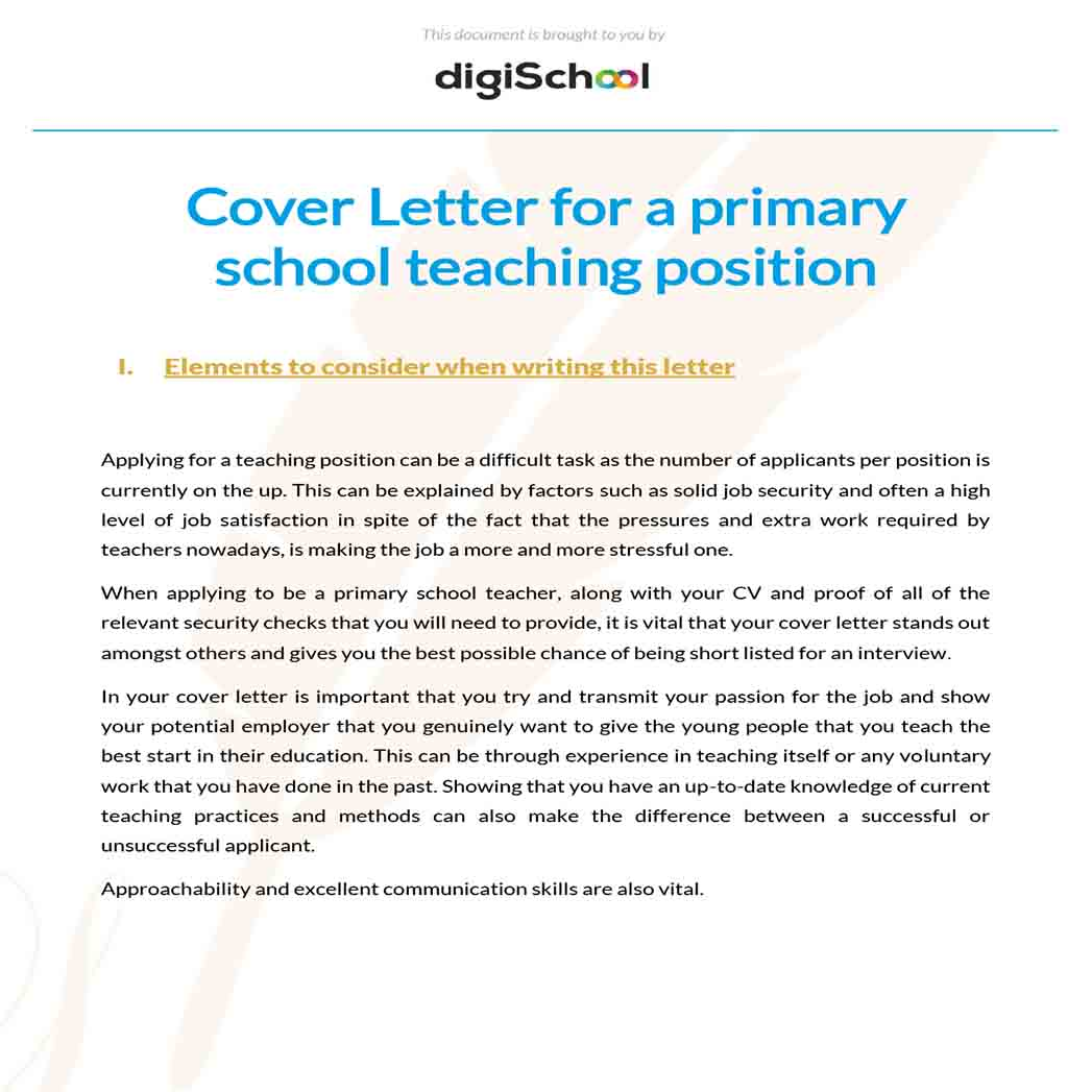Cover Letter for a Primary School Teaching Position 1