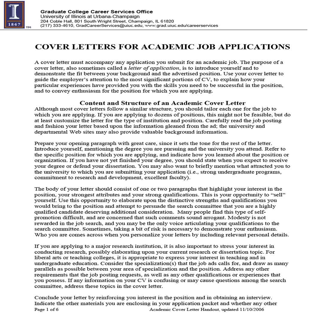 Cover Letters for Generic Academic Job Application 1