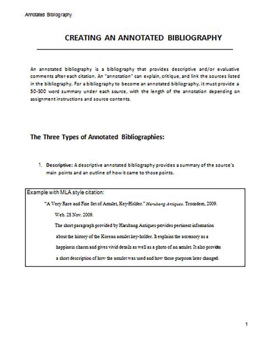 Creating an Annotated Bibliography Generator Sample 1