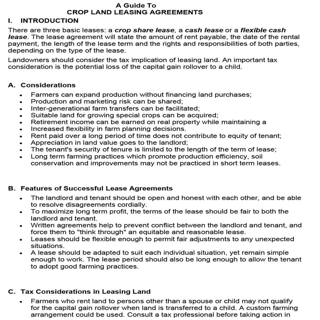 Crop Land Basic Rental Agreement 1