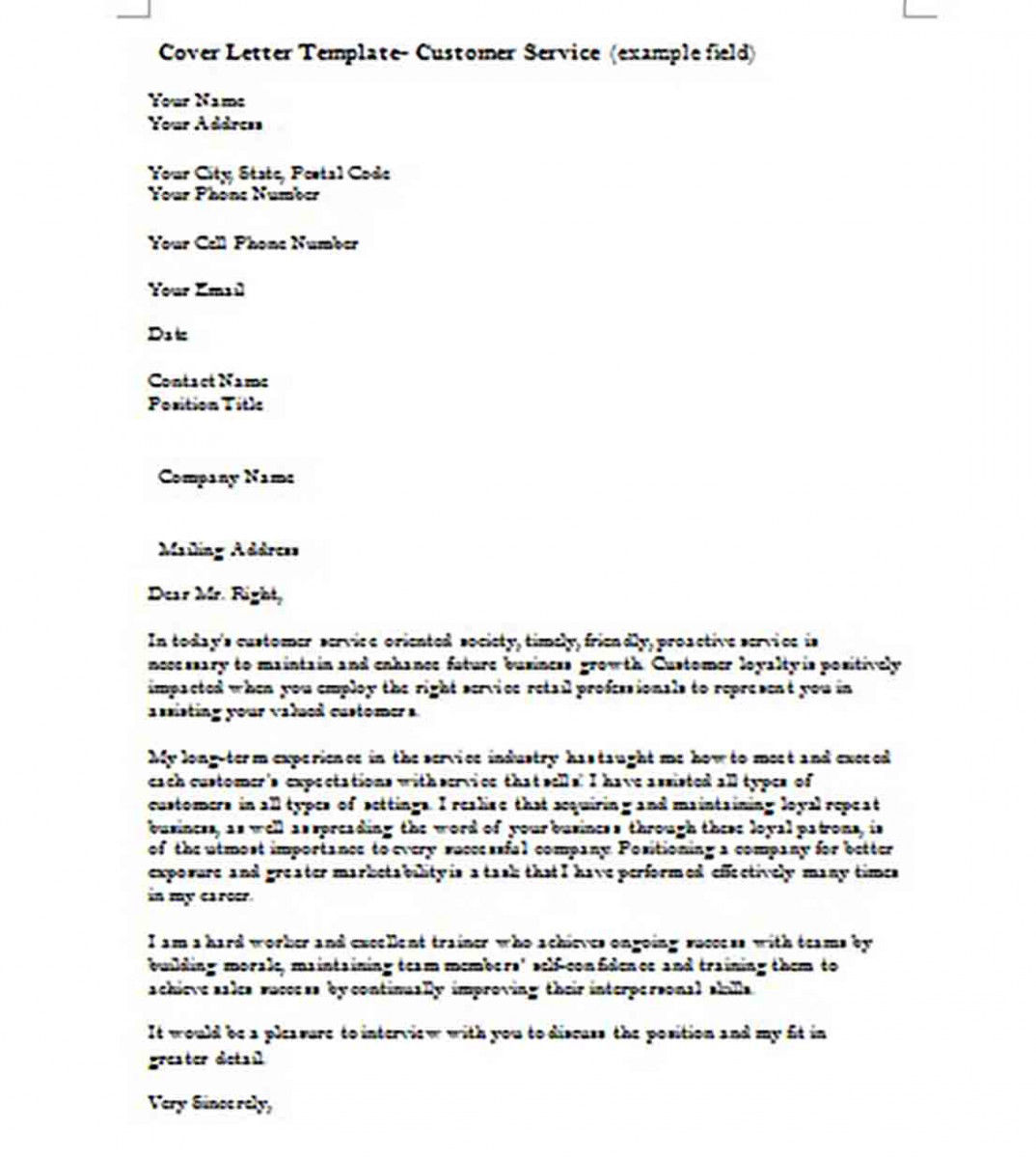 Customer Service Cover Letter templates