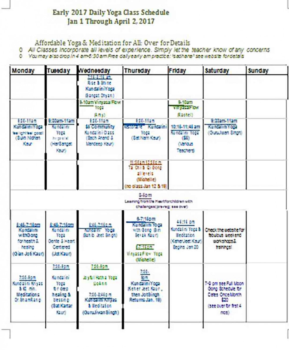 Daily Yoga Class Schedule