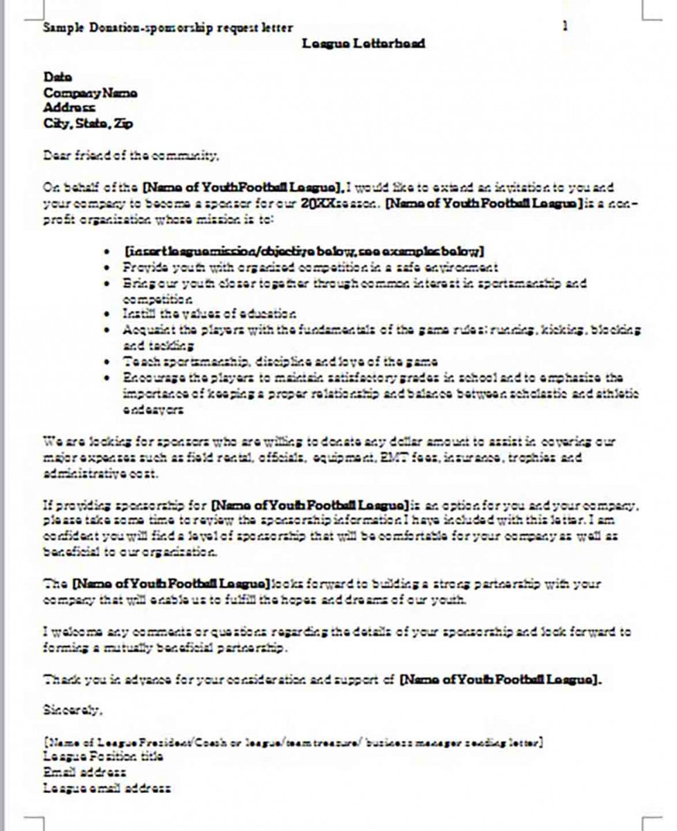 Donation Letter for Baseball Team MS Word