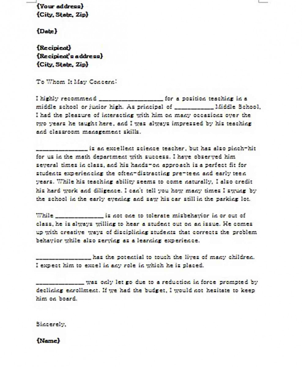 Editable Letter of Recommendation for Teacher from Principal