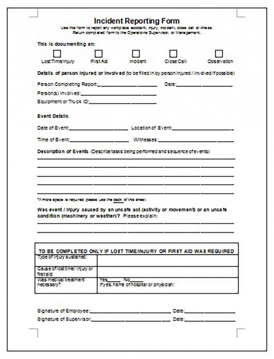 Editable Person Injured Incident Reporting Form