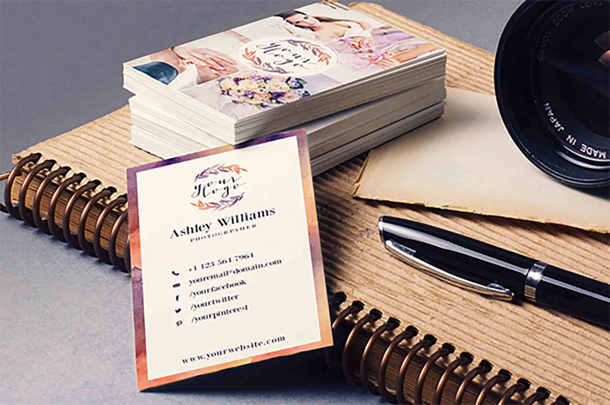Elegant Watercolor Staples Business Card