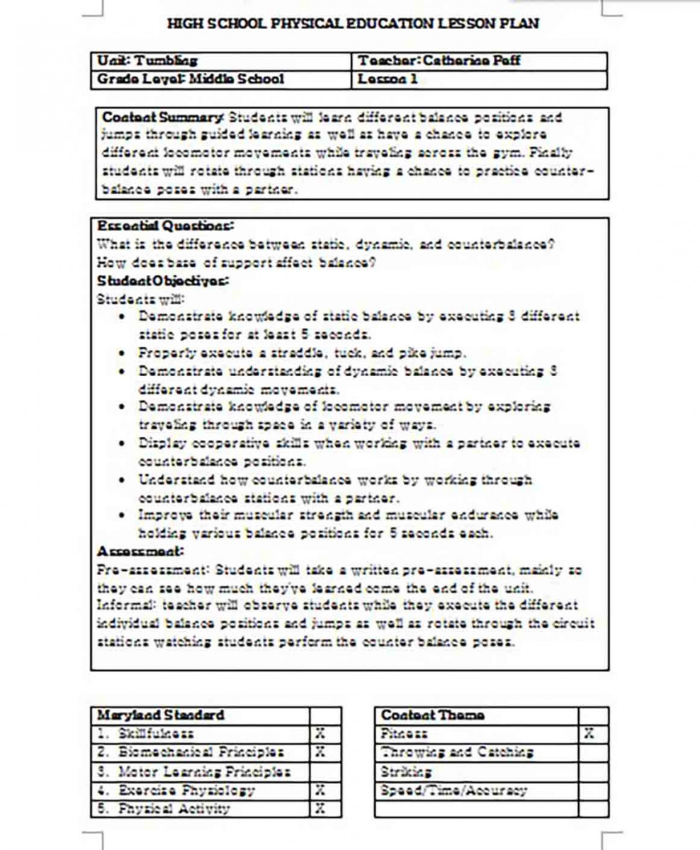 Elementary Physical Education Lesson Plan templates Word