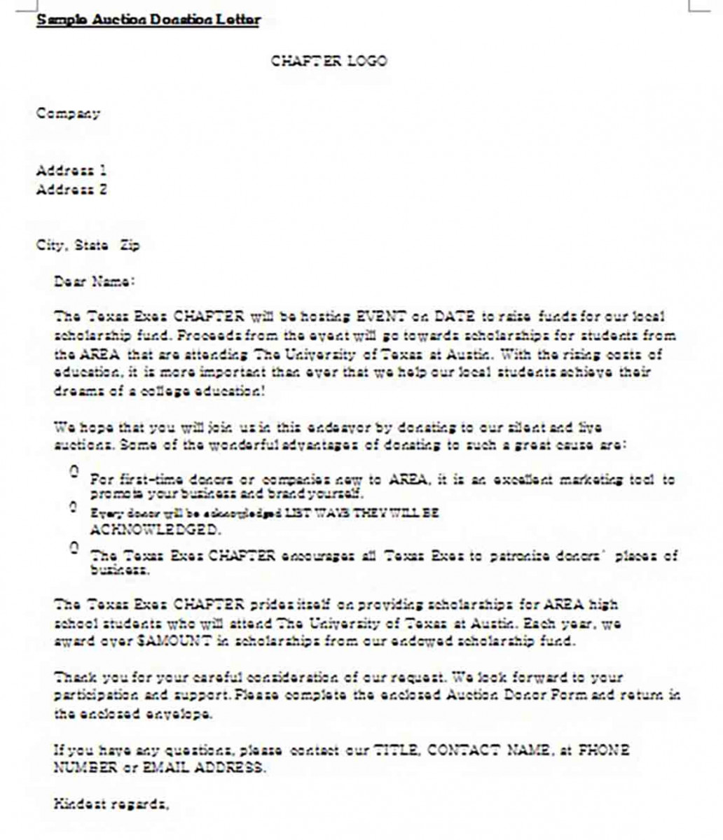Example of Company Donation Letter