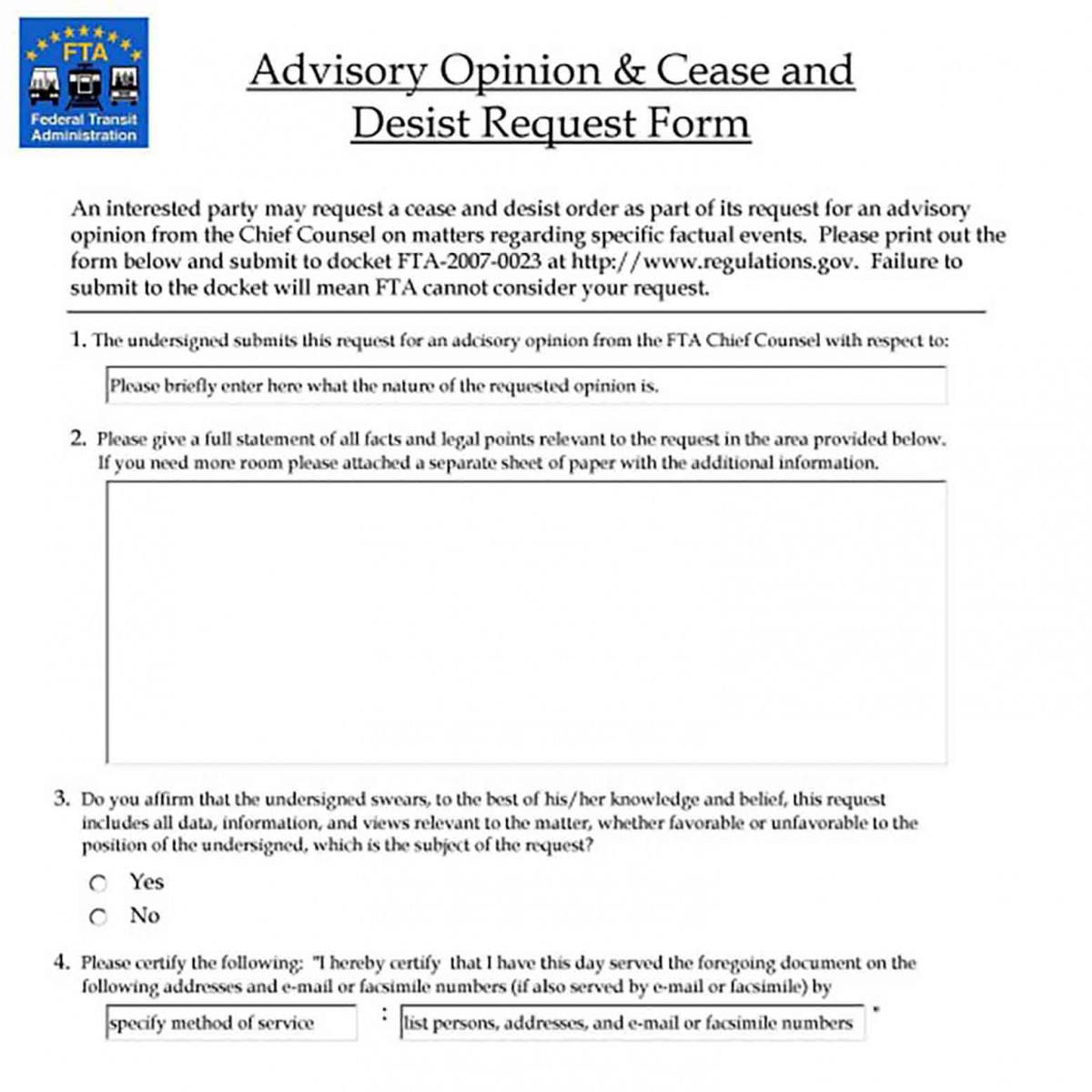 Example of a Cease and Desist Request Form